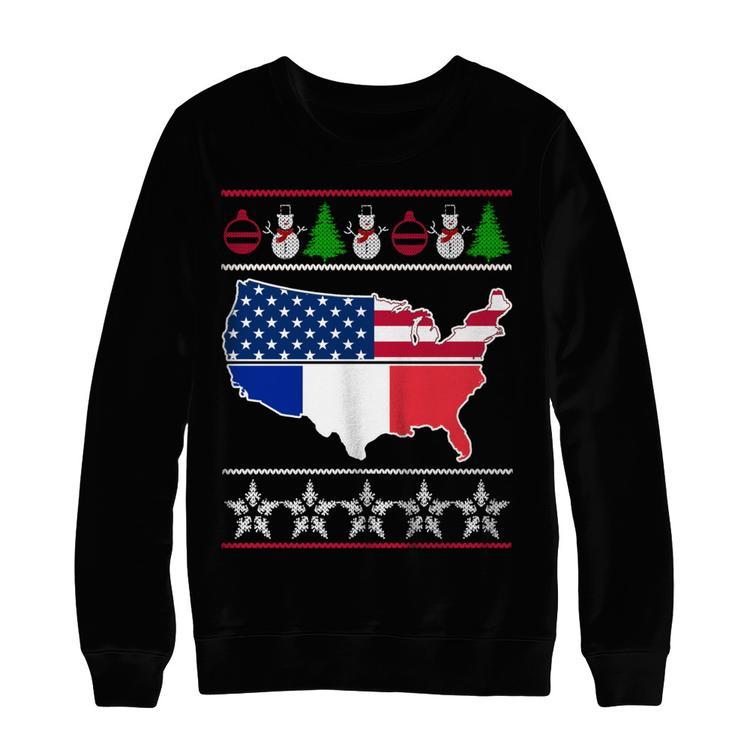 ugly christmas sweater france usa black hanes ultimate heavyweight crewneck sweatshirt - Black Ugly Christmas Sweater