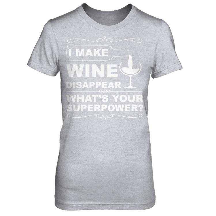 d7d2018a I MAKE WINE DISAPPEAR Heather Gray Next Level Female Fitted Tee front