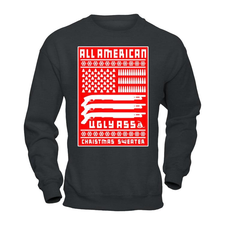 7317e435ec9d ALL AMERICAN UGLY-ASS CHRISTMAS SWEATER! Charcoal Heather Independent  Pullover Sweatshirt front