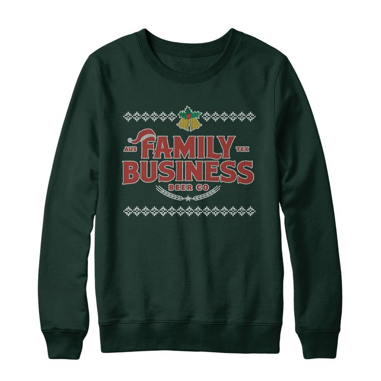 a9f190a13 Family Business Beer Co. Holiday Sweater Forest Green Gildan Midweight  Crewneck Sweatshirt