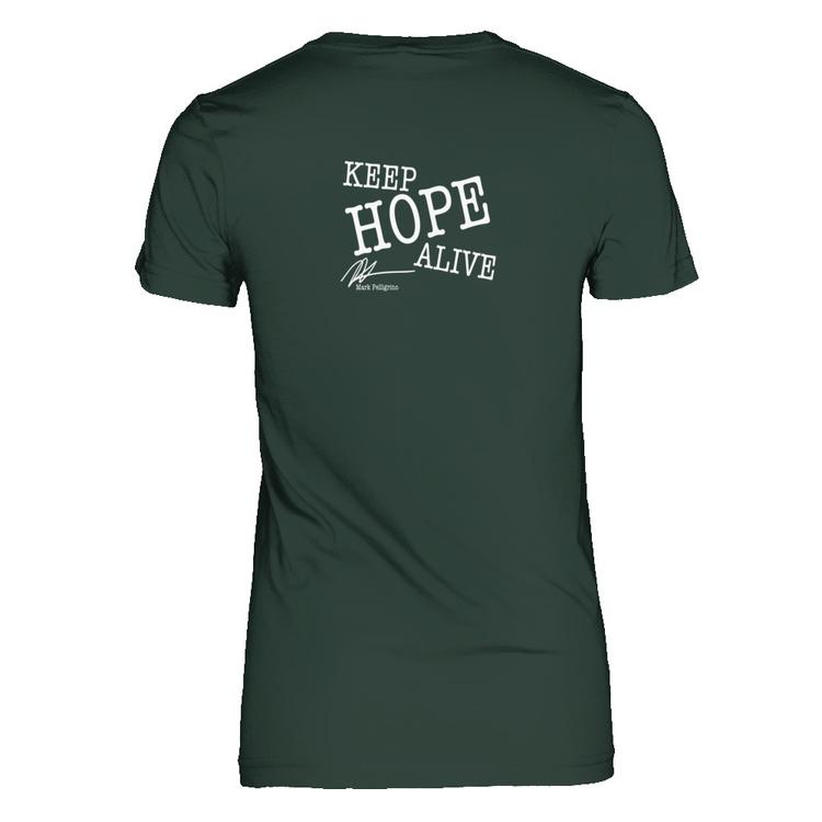 keep hope alive mark pellegrino air quote forest green gildan female short sleeve