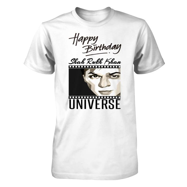 Happy Birthday Shah Rukh Khan Special Tee White Gildan Short Sleeve