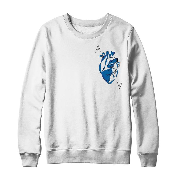 14d3e8f2490 Ace of Hearts - Ace of Spade White Gildan Ultimate Heavyweight Crewneck  Sweatshirt